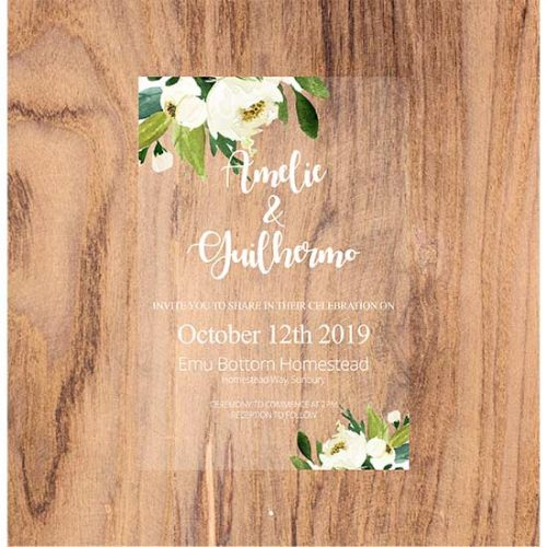 Printed Acrylic Invitations - White and greens design